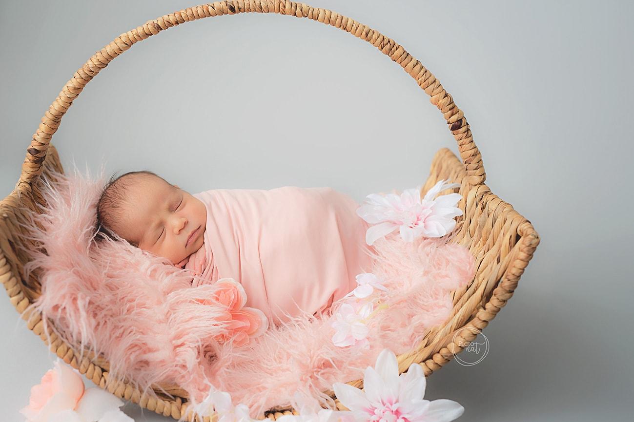 Newborn girl pink basket