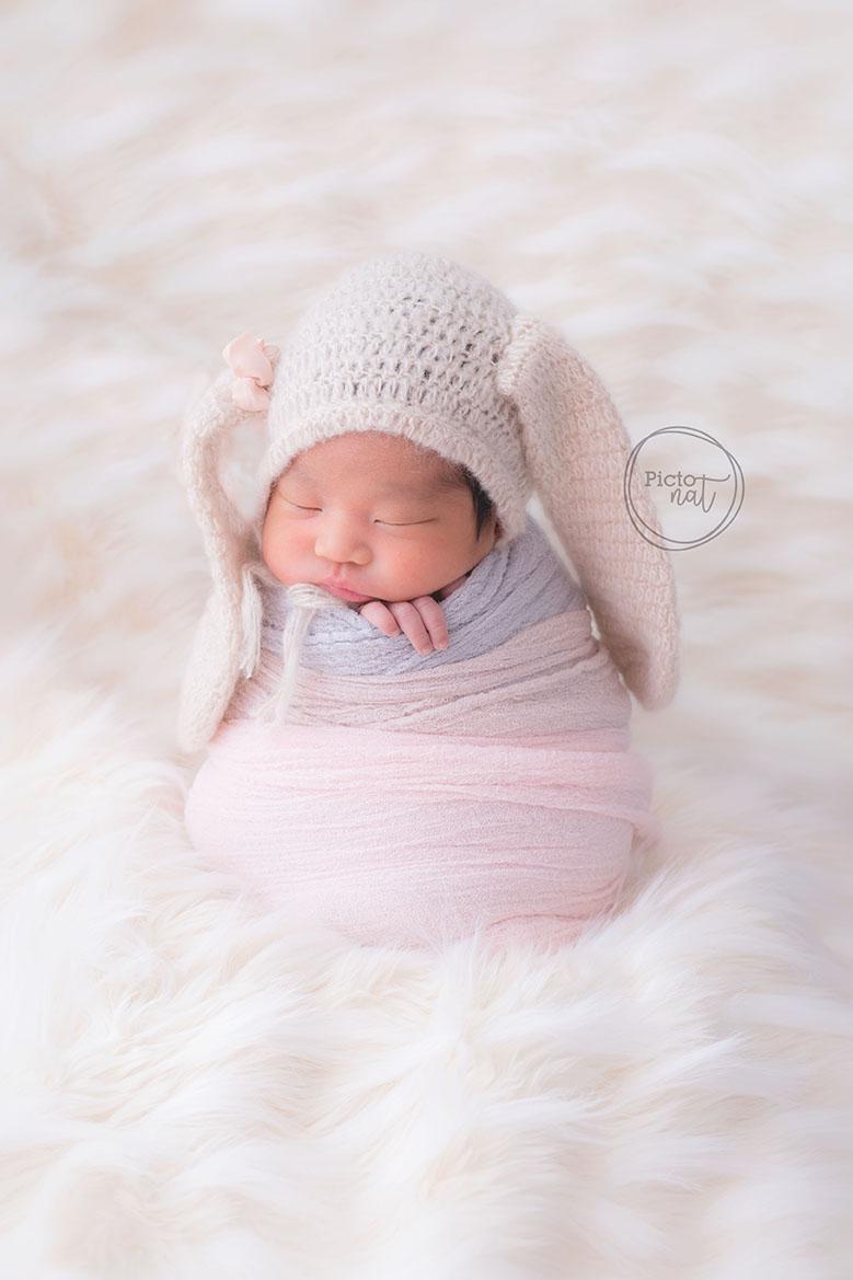 Newborn baby bunny girl