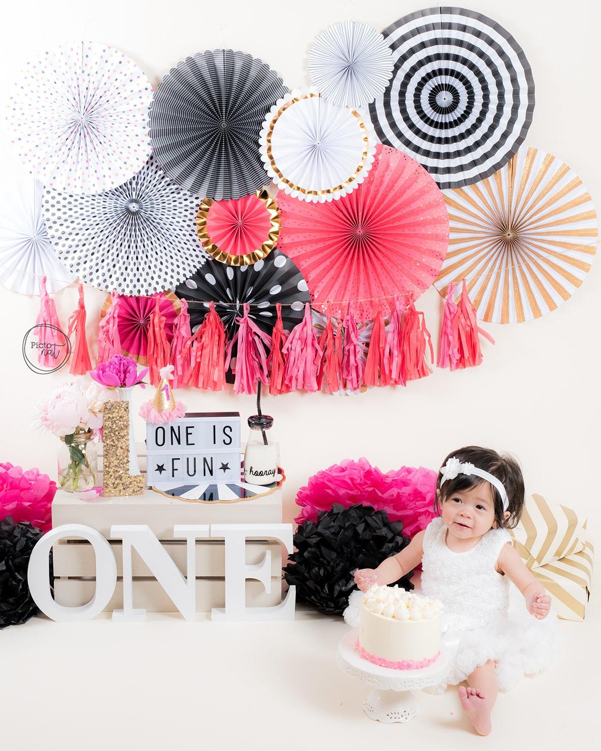 Black White Pink Gold Cake Smash